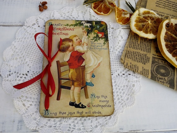 Wooden Christmas Card Vintage Style Christmas Gift Children Etsy
