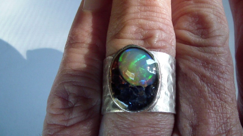 Andy/'s Gem Garage Sale Ethiopian Opal and Blue Sapphire Ring set in Resin
