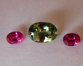 Chrome Tourmaline 7x5mm Oval /Oval Red Spinel combo - Natural - Andy's Gem Garage Sale