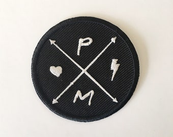 Punky Moms Heart & Bolt Circle Logo Embroidered Patch - Patch Game Strong - Punk Mom - PMUK - Feminist Mom - Lightening Bolt