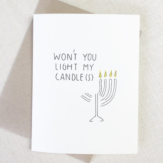 Funny Hanukkah Chanukah Card, MENORAH Card, Happy Holidays Card, Jewish Holiday, Rent Musical Theatre Card, Jewish Christmas Card