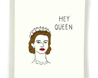 Funny Friendship Card, HEY QUEEN Card, Crown Card, Queen Card, Card for Friend, BFF Card, Gay Card, Funny Gay Card, Thank You card, Yas Card