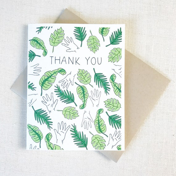 Thank You Card Palm Print, Palm Tree Card, Palm Tree Print Card, Beverly Hills Card, California Card, Palm Frawns, Cute Thank You Card