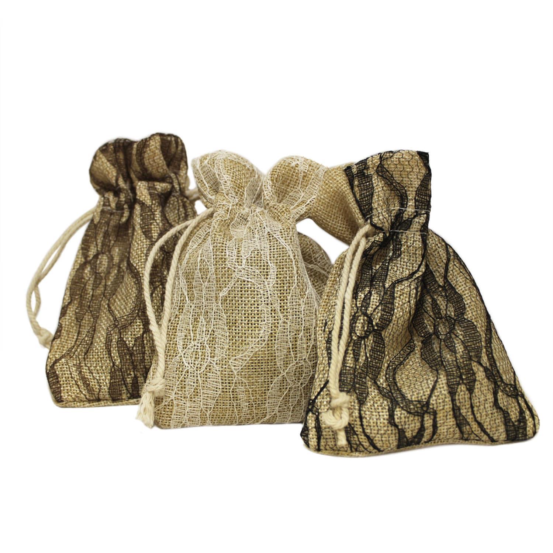 Snowflake Hessian Bags Rustic Burlap Favor Wedding Gift Box Drawstring Closure