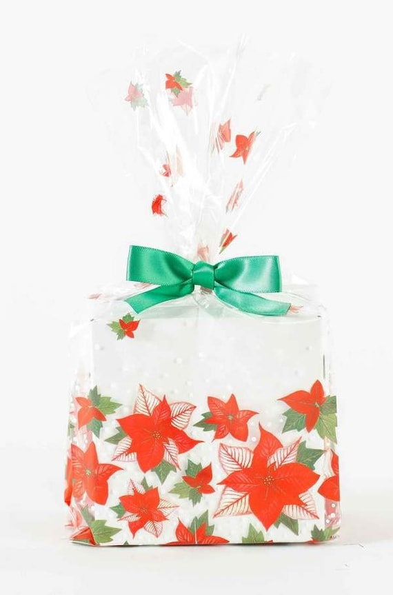 Holiday Clear Cellophane Bags 9 5 X 4 X 2 5 Red Poinsettia Amaryllis Gusseted Christmas Theme Winter Party Favor Goody Treat Gift Wrapping