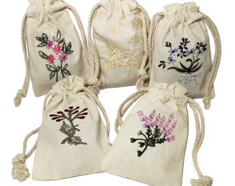 """3"""" x 5"""" Botanical Embroidered Cotton Muslin Mini Drawstring Pouches Floral Wild Flowers Favor Gift Bag Wedding Jewelry Satchet Easter"""
