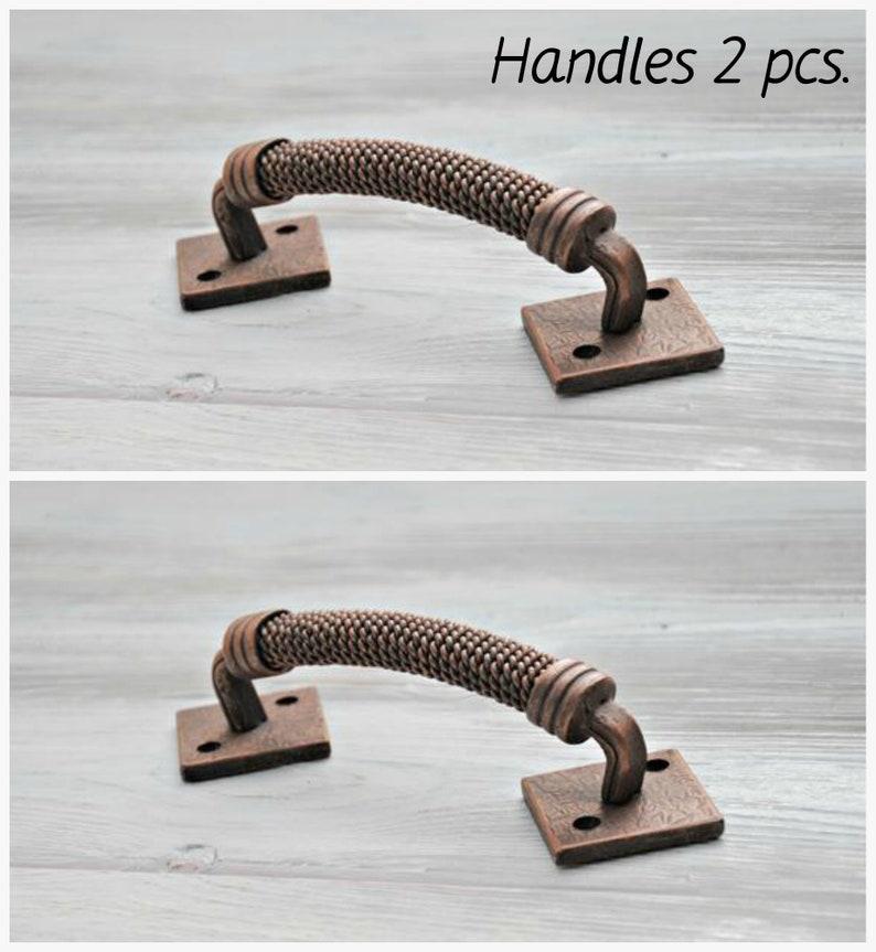 Industrial Door Handle Barn Door Pull Hand Forged Door Knob Wrought Iron  Door Wicket Gate Handle Furniture Rustic Decor Handles 2 Pcs