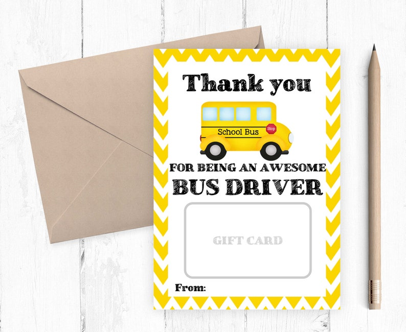 image regarding Student Driver Sign Printable named Thank on your own bus driver reward card printable, Trainer present card holder, Fast Down load, Printable Appreciation Present Towards University student 5X PDF JPG