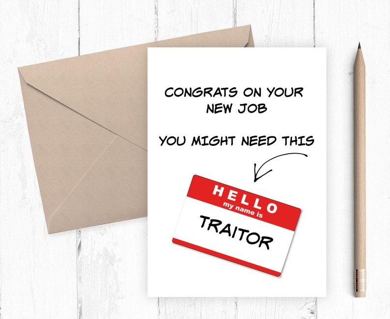 printable new job card instant download farewell card  etsy