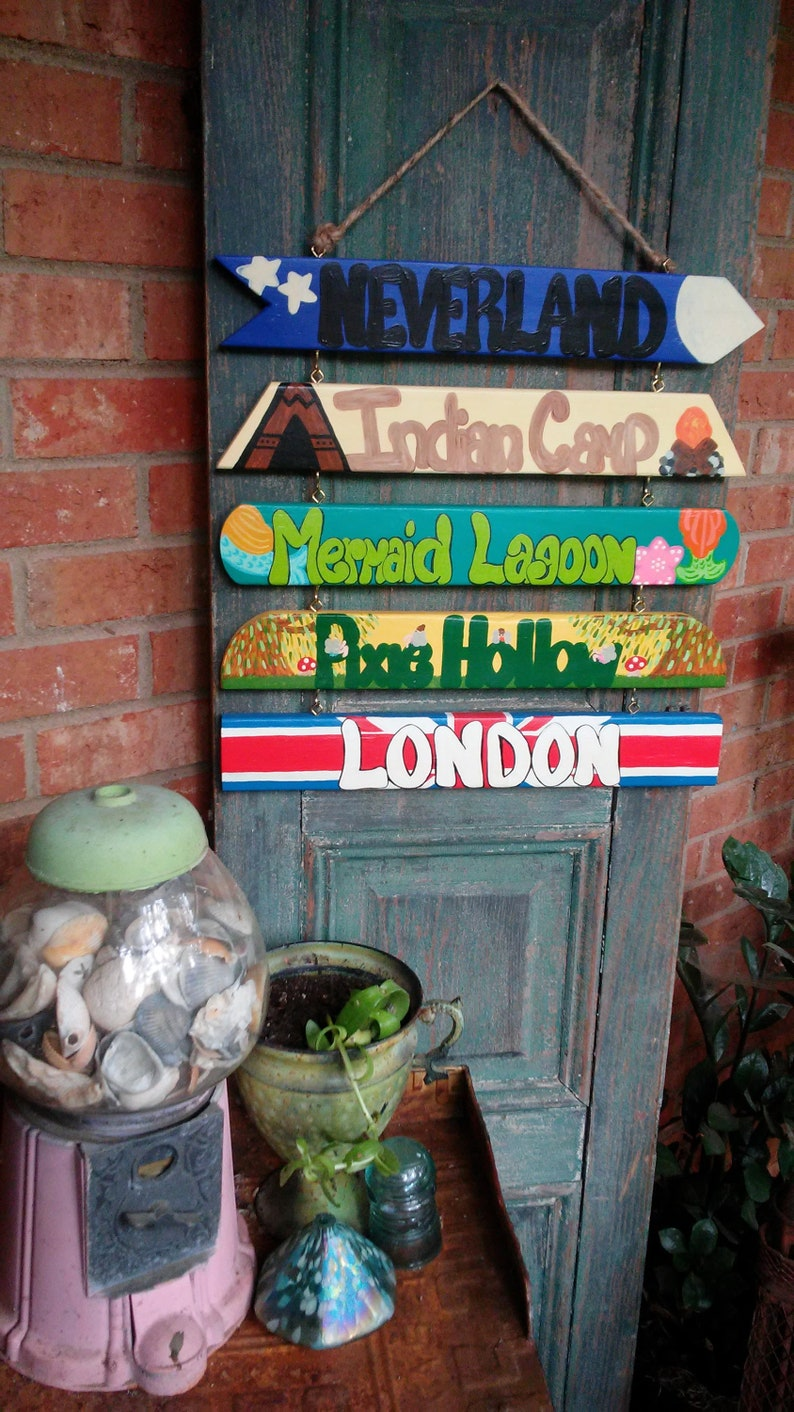 Hand Painted Peter Pan Neverland Directional Fairytale Wooden Signs-Nursery Wall Signs-Whimsical Hanging Signs-Kids room-Baby Shower Gift