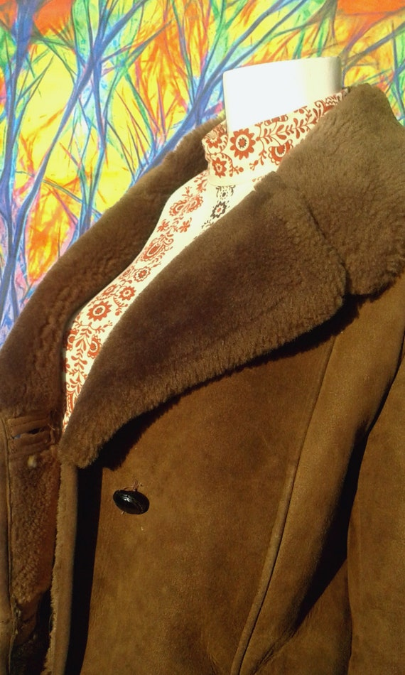 Vintage 1960's Full Length Shearling Coat with Ove