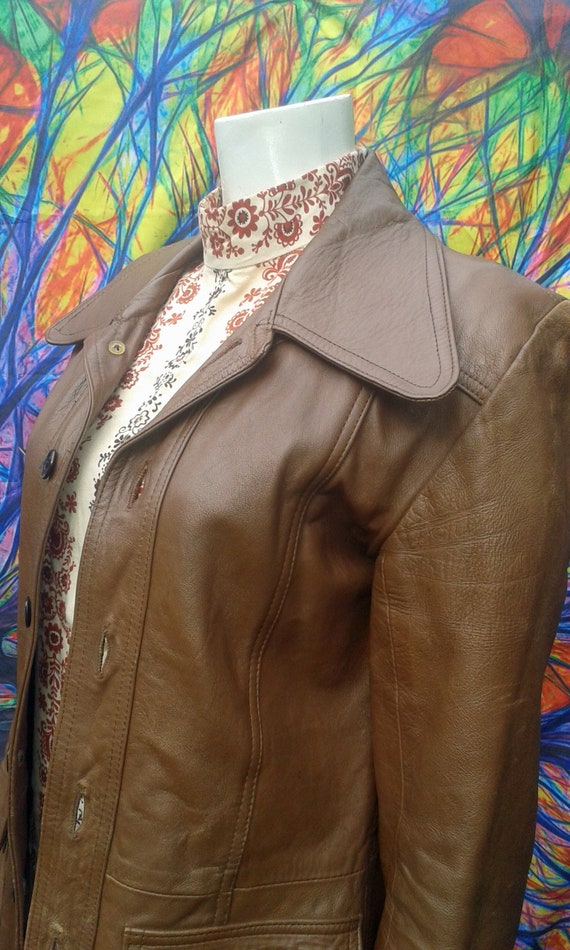 Vintage 1960's Tan Leather Safari Jacket With Over