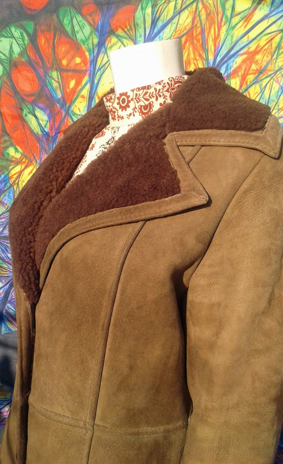Vintage 1970's Full Length Shearling Coat with Ove