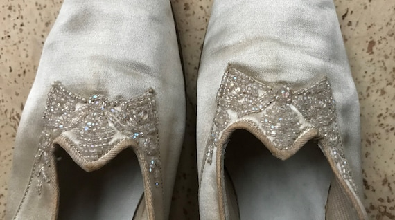 Vintage 20s Wedding Shoes Satin With Irridescent B