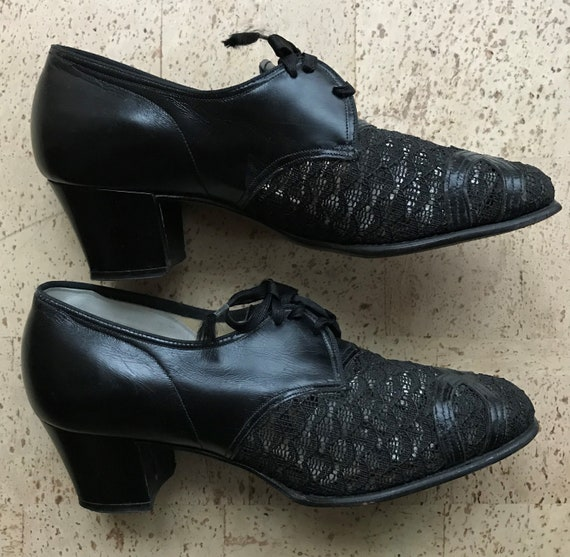 Vintage 40s Mesh And Leather Shoes