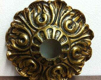 Vintage Door Knob Plate   Ornate Brass Door Rosette   Architectural Door  Hardware   Reno Project