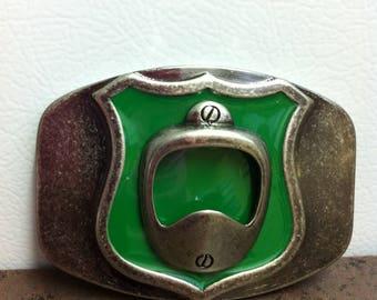 Vintage Belt Buckle - Bottle Opener - Metal with Green Enamel - Intersate Symbol Style - Route 66
