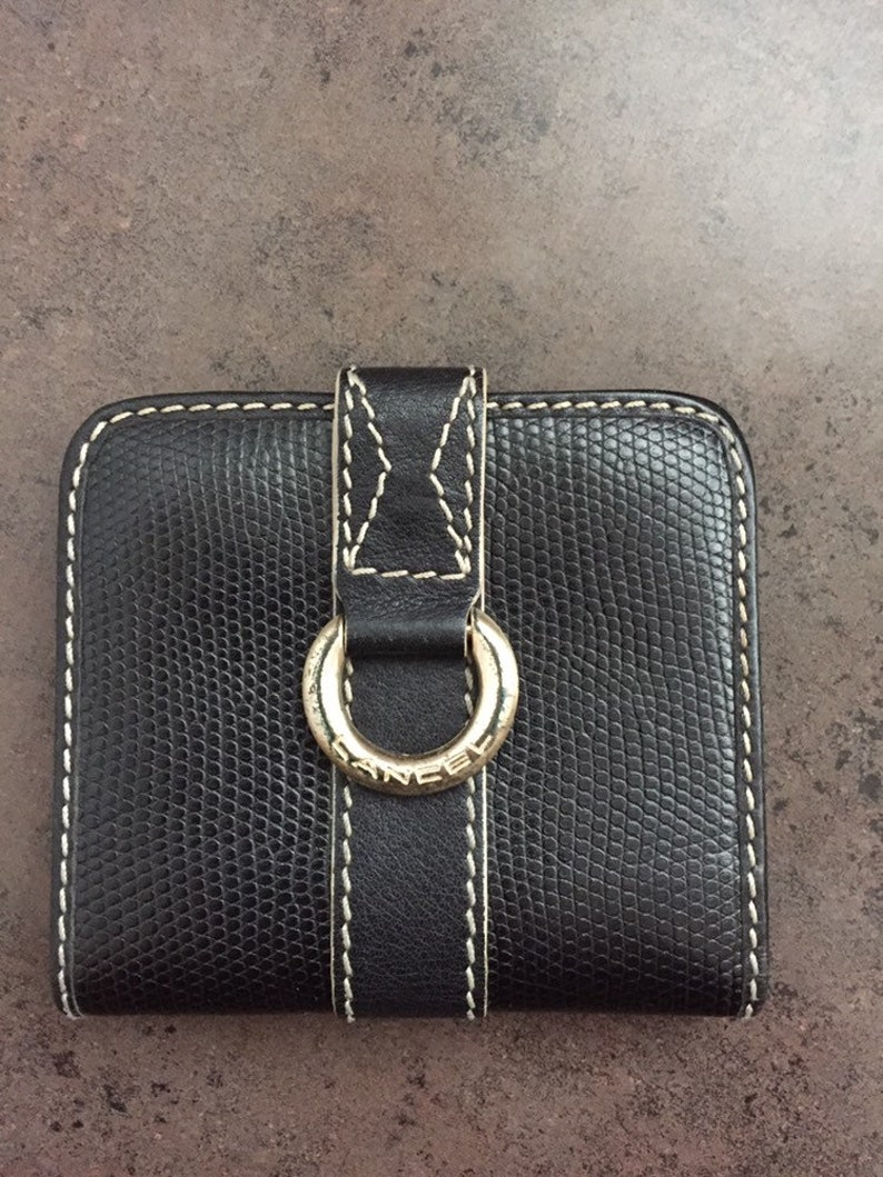 Unisex Wallet Purse Accessory Black Faux Leather with White Stitching Vintage Womens Wallet