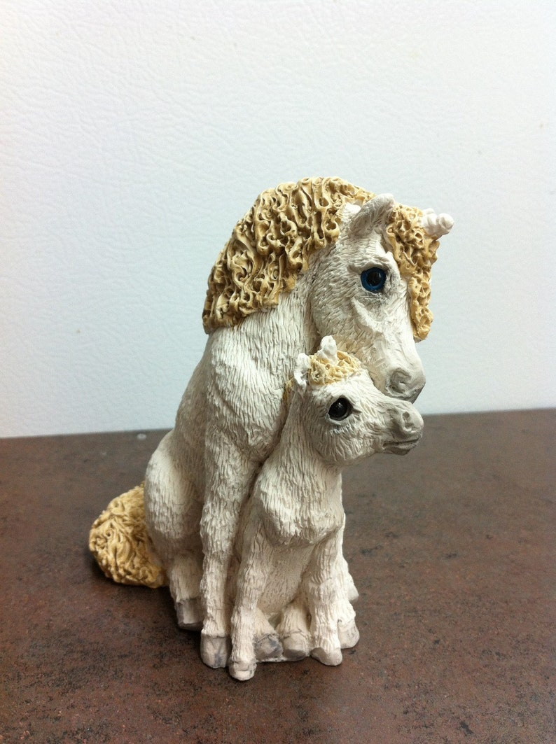 Vintage Unicorn Figurine , Stone Critters , Mama and Colt , White Horse  Ornament , Stamped UDC 1992 , Gift for the Collector