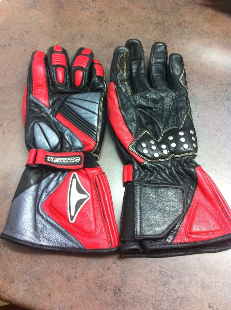 Vintage Motor Cycle Gloves Red and Black Leather Teknic Leather Driving Gloves Adjustable Wrist