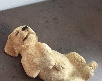 Vintage Dog Figurine - Sandra Brue - Sandi Cast - Golden Labrador Pup - Made in the USA