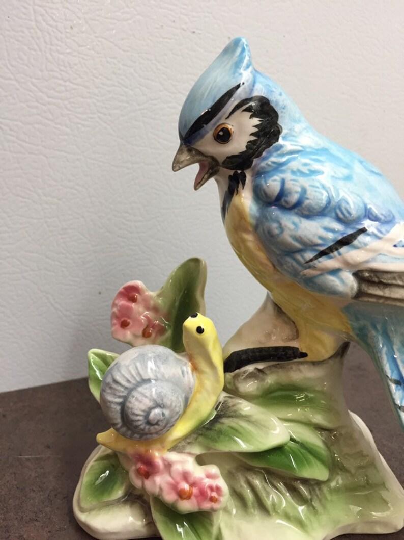 House Warming Gift Ceramic Bird Ornament Blue Jay and a Snail Vintage Bird Figurine