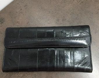 Vintage Womens Wallet - Black Eel Skin - Clutch Wallet - Purse Accessory - Gift for her