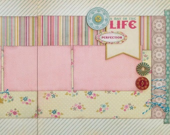 A Day in the Life - Pre-cut 2-Page 12x12 Scrapbook Layout DIY Kit