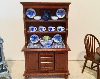 Mahogany Hutch with Blue Accents for 1:12 Scale Dollhouse