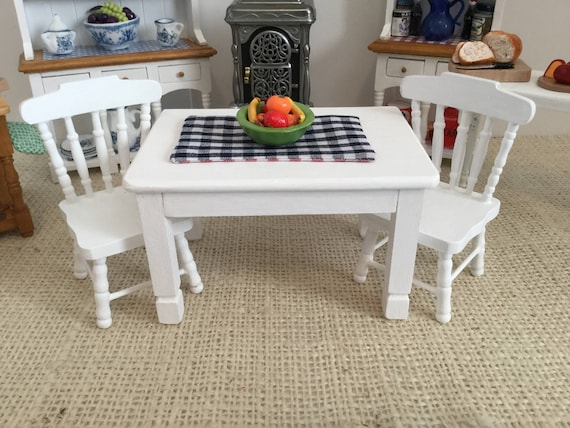 Groovy Miniature White Table With Bowl Of Fruit Reversible Placemat And Two Chairs For 1 12 Scale Dollhouse Lamtechconsult Wood Chair Design Ideas Lamtechconsultcom