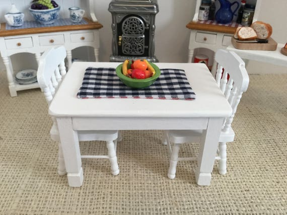 Pleasant Miniature White Table With Bowl Of Fruit Reversible Placemat And Two Chairs For 1 12 Scale Dollhouse Lamtechconsult Wood Chair Design Ideas Lamtechconsultcom