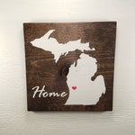 "Pick State, Pick colors, Custom, Wooden State Sign, Michigan, U of M, Michigan State, 11.25""x11.25"""