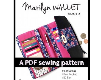 Marilyn wallet PDF sewing pattern, Linds Handmade Designs DIY wallet, trifold wallet PDF