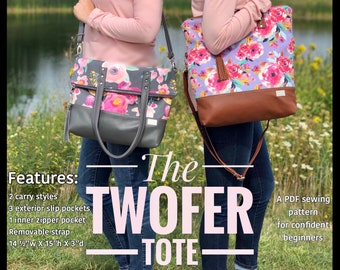 Twofer tote PDF sewing pattern, downloadable tote bag sewing tutorial, linds handmade designs sewing pattern