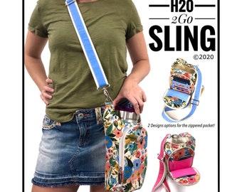 H20 2GO Sling PDF sewing pattern, waterbottle holder, beverage purse, linds handmade design, DYI waterbottle holder