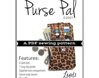 Purse pal PDF sewing pattern, diy wallet pattern, minimalist wallet, slim wallet, linds handmade designs