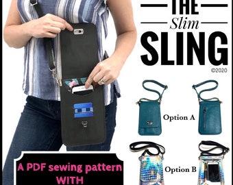 Slim Sling SVG files for a cutting machine AND PDF sewing pattern, diy slim purse pattern, minimalist purse tutorial
