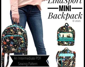 LindSport mini backpack PDF sewing pattern, DIY backpack purse, mini backpack sewing tutorial, Linds Handmade Designs