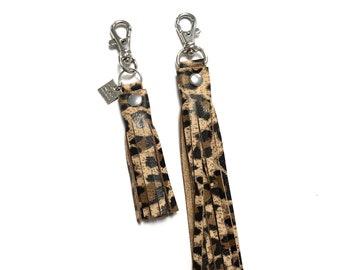 Leopard leather tassel key chain, leather tassels, tassel zipper pulls, leather key chain,