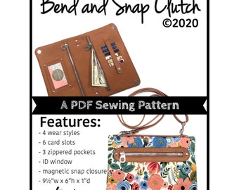 Bend and Snap Clutch PDF Sewing pattern, 4 in 1 purse, diy clutch, small crossbody bag pattern, Linds handmade Designs