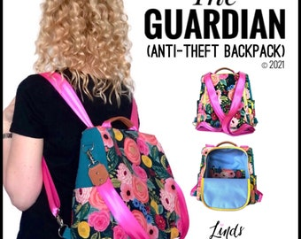 Guardian anti-theft backpack PDF sewing pattern, diy antitheft backpack, backpack sewing pattern, rucksack diy, Linds handmade designs