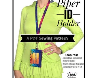 Piper ID holder pdf sewing pattern, diy badge holder, teacher lanyard tutorial, drivers license pouch, id holder, bag sewing patterns