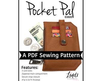 Pocket Pal PDF sewing pattern, minimalist wallet diy, pocket pouch, Linds Handmade Designs sewing pattern