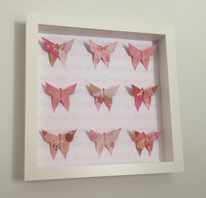 Personnalisé rose papillon en origami cadre mural cadeau | Etsy