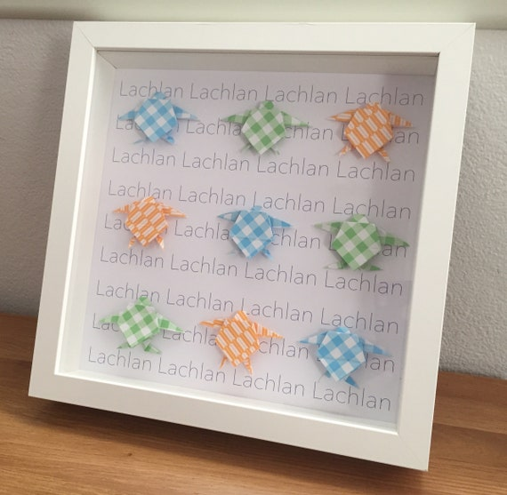 Personalised Origami Turtle frame, origami wall display, wall decor, turtle  frame, origami frame, naming gift