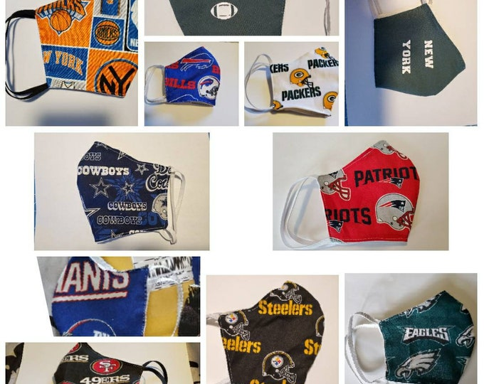 NFL Face mask, Sports Face mask, Sports Team Masks, Football mask, Basketball Masks, NBA Face masks with adjustable straps
