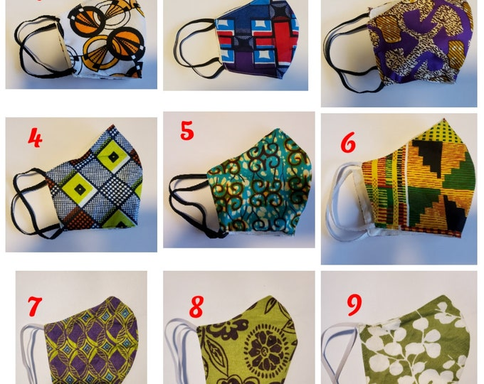 African print Face Mask-Reusable and Washable Face Mask-Adult/Teen OR Child adjustable straps with optional side opening for filter insert.