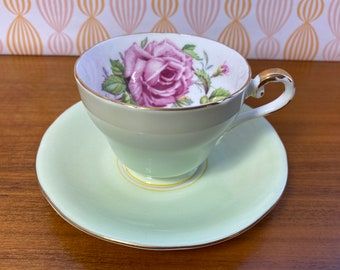 Aynsley Large Pink Cabbage Rose Tea Cup and Saucer, Pale Lime Green Teacup and Saucer with Pink Rose