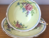 Paragon Yellow Tea Cup and Saucer, Floral Teacup and Saucer, Vintage English Bone China, Double Warrant