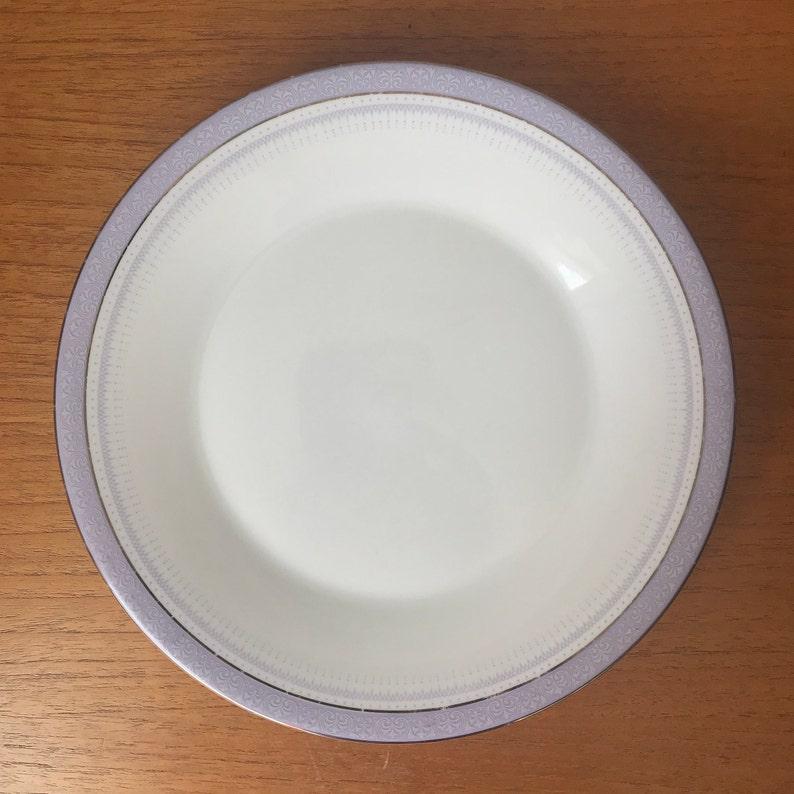 Light Pastel Purple Border Bone China Plates Silver Trim Royal Doulton LilacTime Salad Plates 1970s